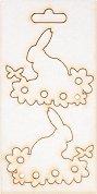 Фигурки от бирен картон - Заек с цветя - Комплект от 2 броя предмети за декориране с размери 4.5 / 5 / 0.1 cm