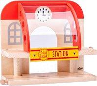 Двуетажна железопътната гара - Детска дървена играчка - играчка