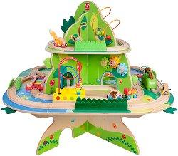"""Влакова композиция - Околосветско пътешествие - Детски дървен комплект за игра от серията """"Влакчета"""" - играчка"""