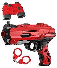 """Пистолет, меки патрони, белезници, мишена и бинокъл - Комплект със светлинни ефекти от серията """"Red Guns"""" - фигура"""