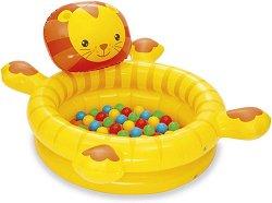 Надуваем детски басейн - Лъвче - Комплект с 50 броя пластмасови топки - басейн
