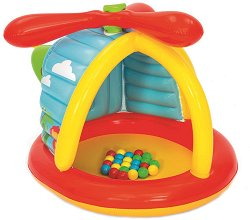 Надуваем детски център - Хеликоптер - Комплект с 25 пластмасови топки - басейн