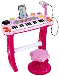 Електронно пиано с микрофон и столче - Детски музикален инструмент -