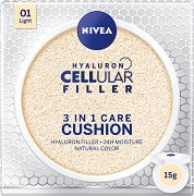 Nivea Hyaluron Cellular Filler 3 in 1 Care Cushion - SPF 15 - Грижовен фон дьо тен за лице с естествено покритие - крем