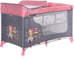 """Сгъваемо бебешко легло на две нива - Moonlight 2 Layers: Pink Travelling - Комплект с повивалник от серията """"Travelling"""" -"""