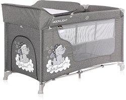 Сгъваемо бебешко легло на две нива - Moonlight 2 Layers: Grey Luxe - Комплект с повивалник -