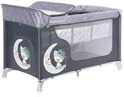 Сгъваемо бебешко легло на две нива - Moonlight 2 Layers: Grey Cute Moon - Комплект с повивалник -