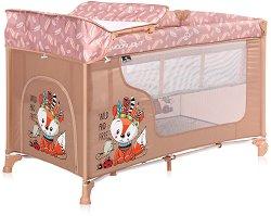 Сгъваемо бебешко легло на две нива - Moonlight 2 Layers: Beige Foxy - Комплект с повивалник -
