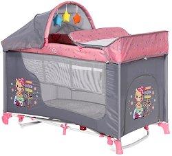 """Сгъваемо бебешко легло на две нива - Moonlight 2 Layers Rocker: Pink Travelling - С люлеещ механизъм от серията """"Travelling"""" -"""
