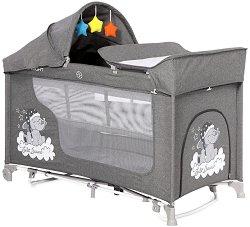 Сгъваемо бебешко легло на две нива - Moonlight 2 Layers Rocker: Grey Luxe - С люлеещ механизъм -