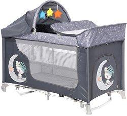 Сгъваемо бебешко легло на две нива - Moonlight 2 Layers Rocker: Grey Cute Moon - С люлеещ механизъм -