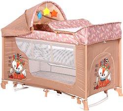 Сгъваемо бебешко легло на две нива - Moonlight 2 Layers Rocker: Beige Foxy - С люлеещ механизъм -