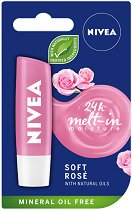 Nivea 24 Melt-in Moisture Soft Rose - Балсам за устни с екстракт от роза - балсам