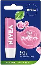 Nivea 24 Melt-in Moisture Soft Rose - Балсам за устни с екстракт от роза - маска