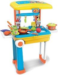 Детска кухня - куфар - Детски комплект за игра с аксесоари -