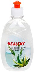 Почистващ гел за ръце - Healthy - С над 60% спирт, в разфасовка от 400 ml - крем
