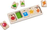 Цветове и форми - Детски дървен образователен пъзел -
