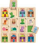 Криеница с животни - Детски дървен образователен пъзел -