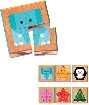 Дървени кубчета - Животни и форми - играчка