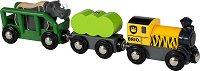 """Товарен влак - Сафари - Дървена играчка с фигурка от серията """"Влакчета"""" - играчка"""