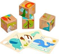 Дървени кубчета - Диви животни - Детски дървен комплект за игра -