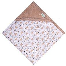 Бебешка двулицева пелена с качулка - 100% органичен памук с размери 80 x 80 cm -