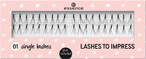 Essence Lashes To Impress Single Lashes - Изкуствени мигли на снопчета в комплект с лепило - пудра