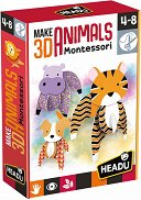 """Животни - 3D фигурки от картон от серията """"Headu: Методът Монтесори"""" -"""