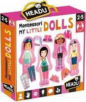 """Облечи куклите - Детски комплект за игра от серията """"Headu: Методът Монтесори"""" - играчка"""