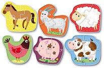 Диви животни - Комплект от 6 пъзела -