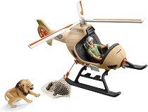 """Спасителен хеликоптер - Комплект фигури и аксесоари от серията """"Джунгла""""  -"""