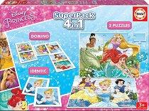 Принцесите на Дисни - 4 в 1 - Комплект от 2 игри и 2 пъзела - играчка