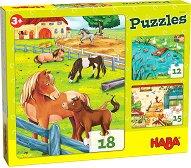 Животни във фермата - Комплект от 3 пъзела -