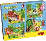 Приказки - Комплект от 4 пъзела и фигурки за игра - пъзел