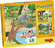 Домашни, горски и диви животни - Комплект от 3 пъзела -