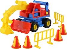 Багер - Детски комплект с конуси и огради - играчка