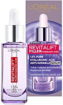 """L'Oreal Revitalift Filler HA Serum - Серум за лице против бръчки с хиалуронова киселина от серията """"Revitalift Filler HA"""" - балсам"""