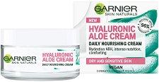 """Garnier Hyaluronic Aloe Cream - Подхранващ крем за суха и чувствителна кожа от серията """"Hyaluronic Aloe"""" - гел"""