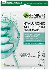 Garnier Hyaluronic Aloe Tissue Mask - Хидратираща хартиена маска за лице - гел