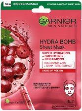 Garnier Hydra Bomb Tissue Mask - Хартиена маска за лице против стареене - крем