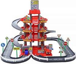 Писта на 4 нива с гараж - Комплект за игра с количка и пътни знаци - играчка