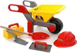 Строителна количка с аксесоари - Детски комплект за игра с пясък -