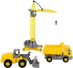 Кран, трактор и камион - играчка