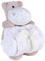 Бебешко микрофибърно одеяло - 80 x 110 cm - Комплект с плюшен хипопотам -