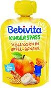 Bebivita - Забавна плодова закуска с пълнозърнести култури, ябълка и банан - пюре