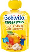 Bebivita - Забавна плодова закуска с пълнозърнести култури, ябълка и банан - Опаковка от 90 g за бебета над 12 месеца - пюре