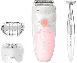 Braun Silk-epil 5 SensoSmart 5-820 Wet & Dry - Епилатор за тяло за суха и мокра епилация в комплект с електрически тример -