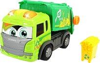 Боклукчийски камион с контейнер - Детска играчка със светлинни и звукови ефекти -