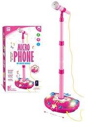 Микрофон със стойка - Детска играчка със светлинни и звукови ефекти -