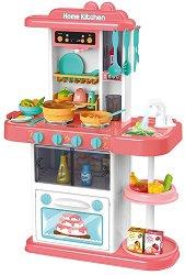 Детска кухня с течаща вода - Комплект с аксесоари и светлинни ефекти - играчка